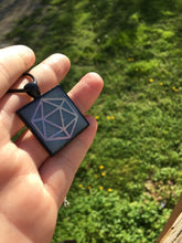 Load image into Gallery viewer, Pink Glowing Holographic D20 Square Pendant Necklace