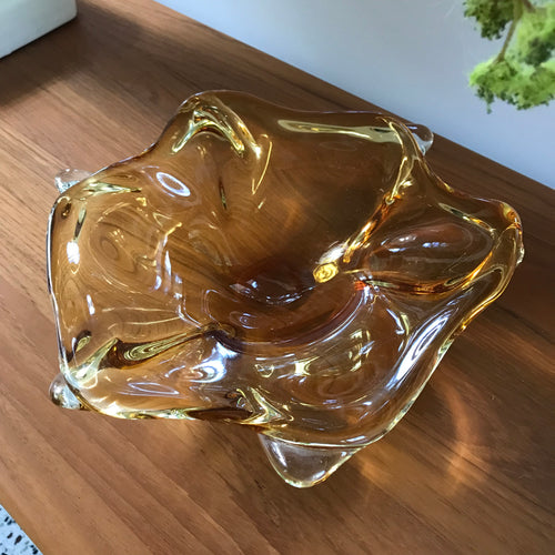 Amber Art Glass Dish