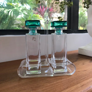 Cruet Set in Lucite Holder