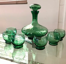 Load image into Gallery viewer, MCM Green Italian Glass Decanter Set