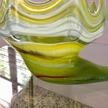 Load image into Gallery viewer, Green Swirl Swan Art Glass  Centerpiece Bowl