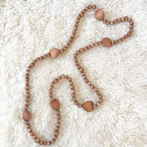 Wood Bead Heart Garland