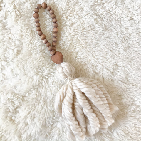 Wood Bead Heart Tassel