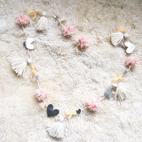 Metalic Heart Pom Pom Garland