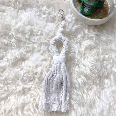 White With Gold Accent Lava Bead Diffusing Keychain