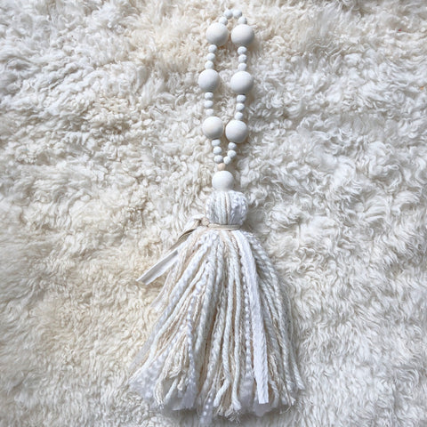 White Distressed Wood Bead Tassel