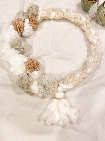 Neutral Color Pom Pom Wreath With Tassel