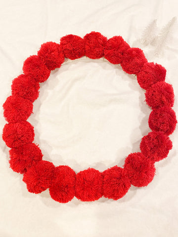 Holiday Red Pom Pom Wreath