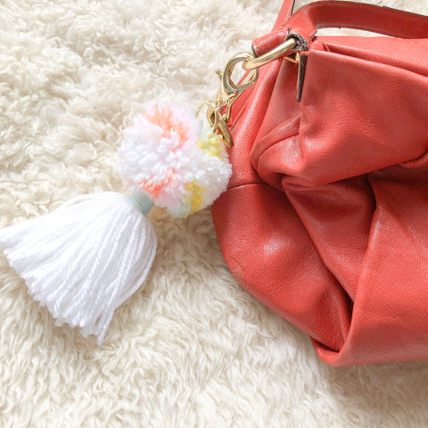 Multi Color Pom Pom & Tassel keychain