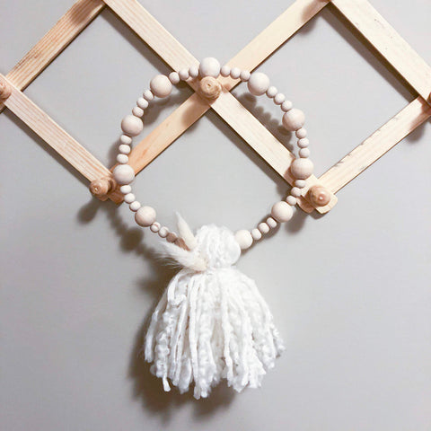 Wood Bead Tassel Wreath