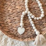 Distressed White Wood Heart Garland