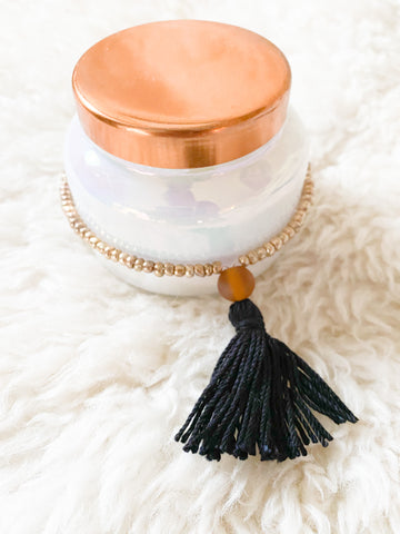 Gold Seed Bead Candle Tassel