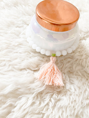White Glass Bead Candle Tassel