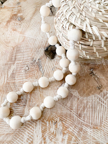 Knotted Wood Bead Garland
