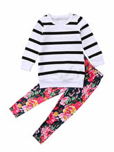 Load image into Gallery viewer, Stripe Sweater & Floral Pants
