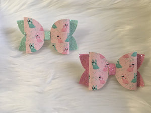 Pink & Turquoise Bunnies 4in Stacked Bow