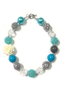 Teal Bubble Necklace with White Rose