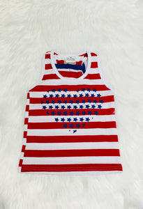 Red Striped USA Heart Tank