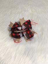 Load image into Gallery viewer, Leopard & Buffalo Plaid Feathered Bow