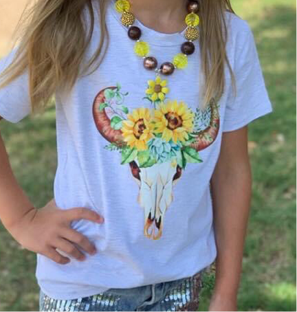 Cow Skull & Sunflower Tee