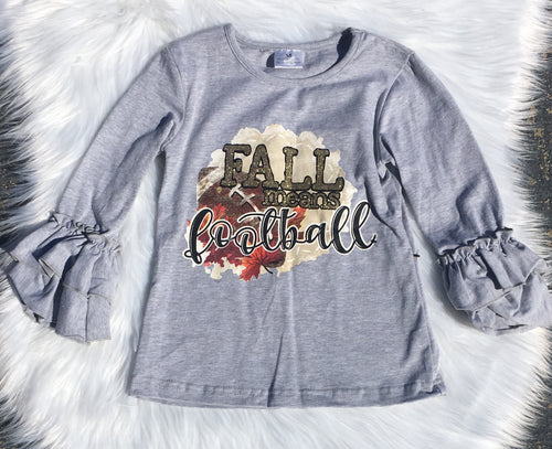 Fall Means Football Flutter Sleeve Tee