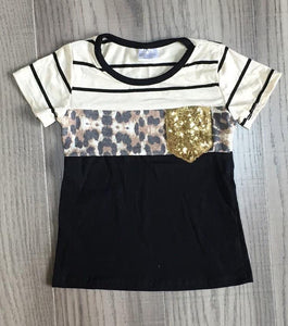 Stripe & Leopard Tee with Sequin Pocket