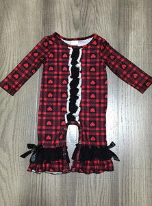 Plaid Hearts Ruffle Romper