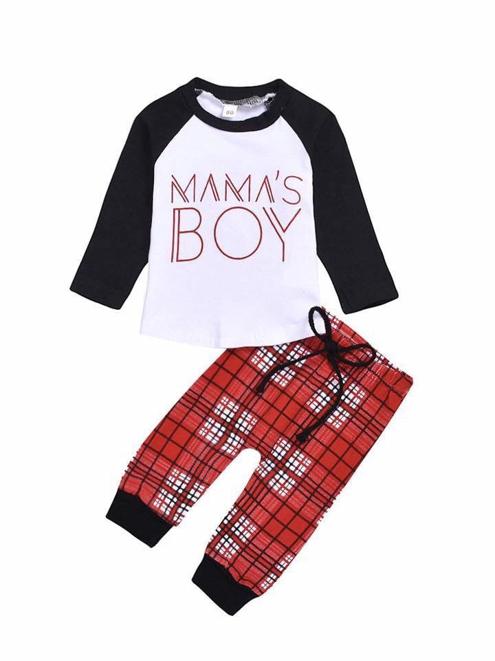 Mama's Boy Raglan & Plaid Joggers