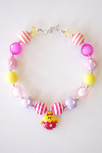 Pink Easter Chick Bubble Necklace