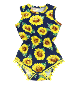 Sunflower Pom Trim Romper