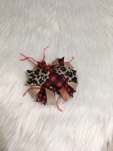 Leopard & Buffalo Plaid Feathered Bow