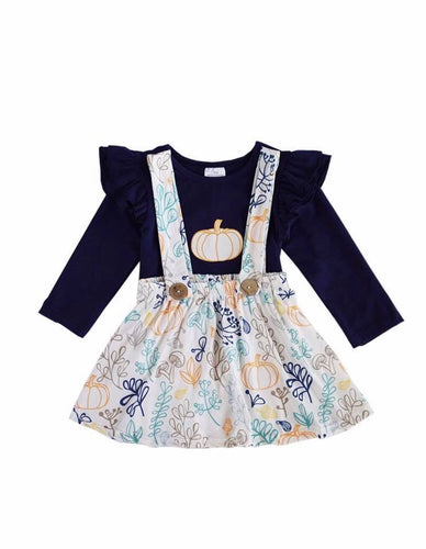 Navy Pumpkin Print Suspender Set