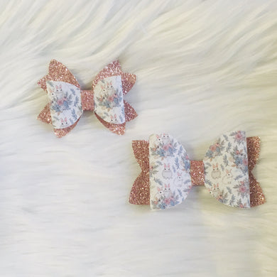 Vintage Floral Bunnies Stacked Bows