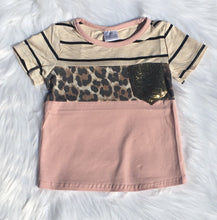 Load image into Gallery viewer, Stripe & Leopard Tee with Sequin Pocket
