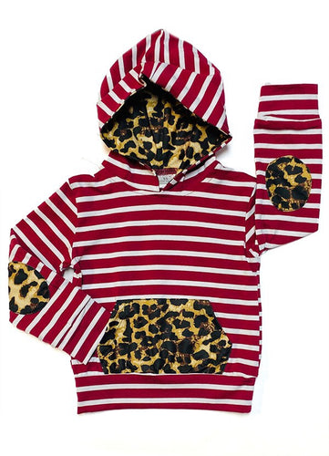 Striped Hoodie with Leopard Pocket