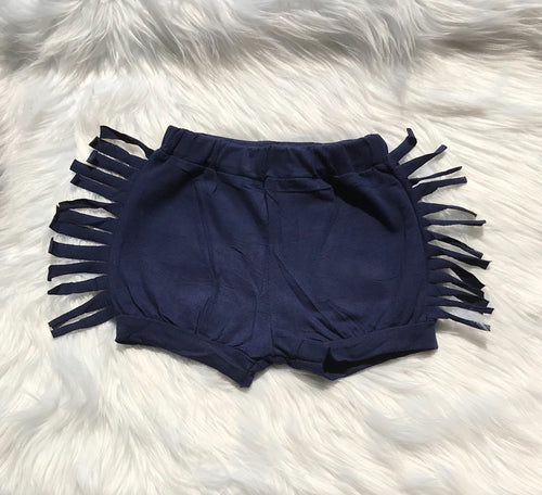 Navy Fringe Shorts