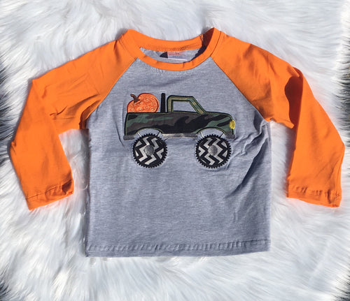Camo Truck with Pumpkin Raglan