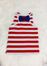 Load image into Gallery viewer, Red Striped USA Heart Tank