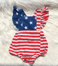 Load image into Gallery viewer, Flag Flutter Sleeve Romper