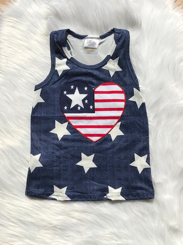 USA Flag Heart Tank