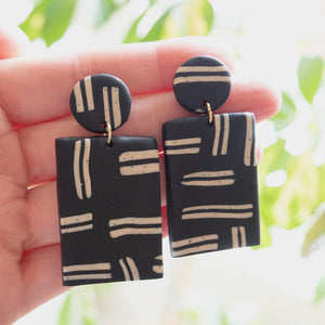 Block Statement Earrings, Black | Curious Makers