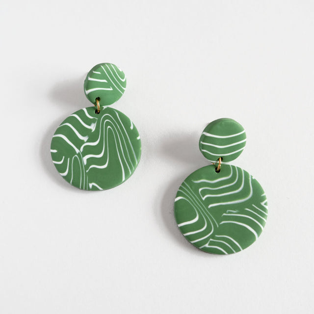 Disk Earrings, Olive | Curious Makers