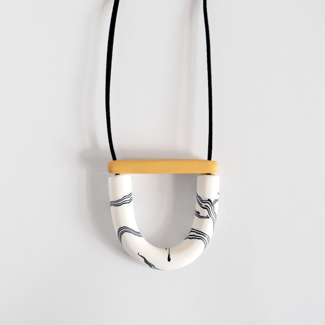 Mini Arc Necklace, Mono and Mustard | Curious Makers