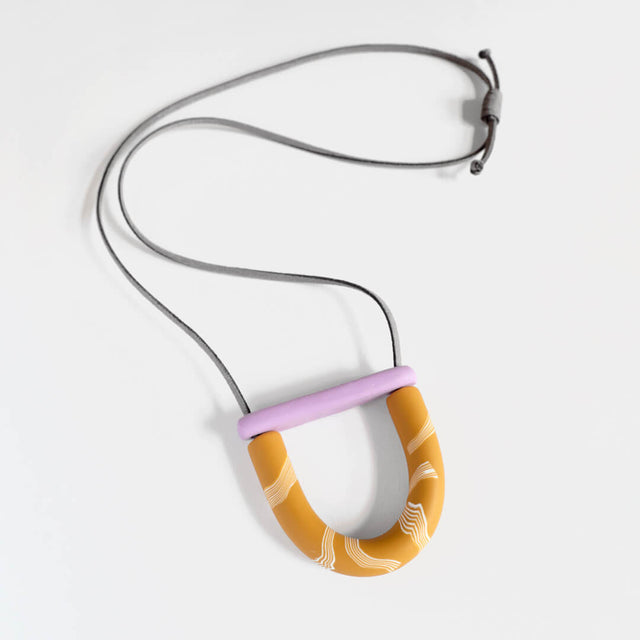 Mini Arc Necklace, Lilac and Mustard Curious Makers