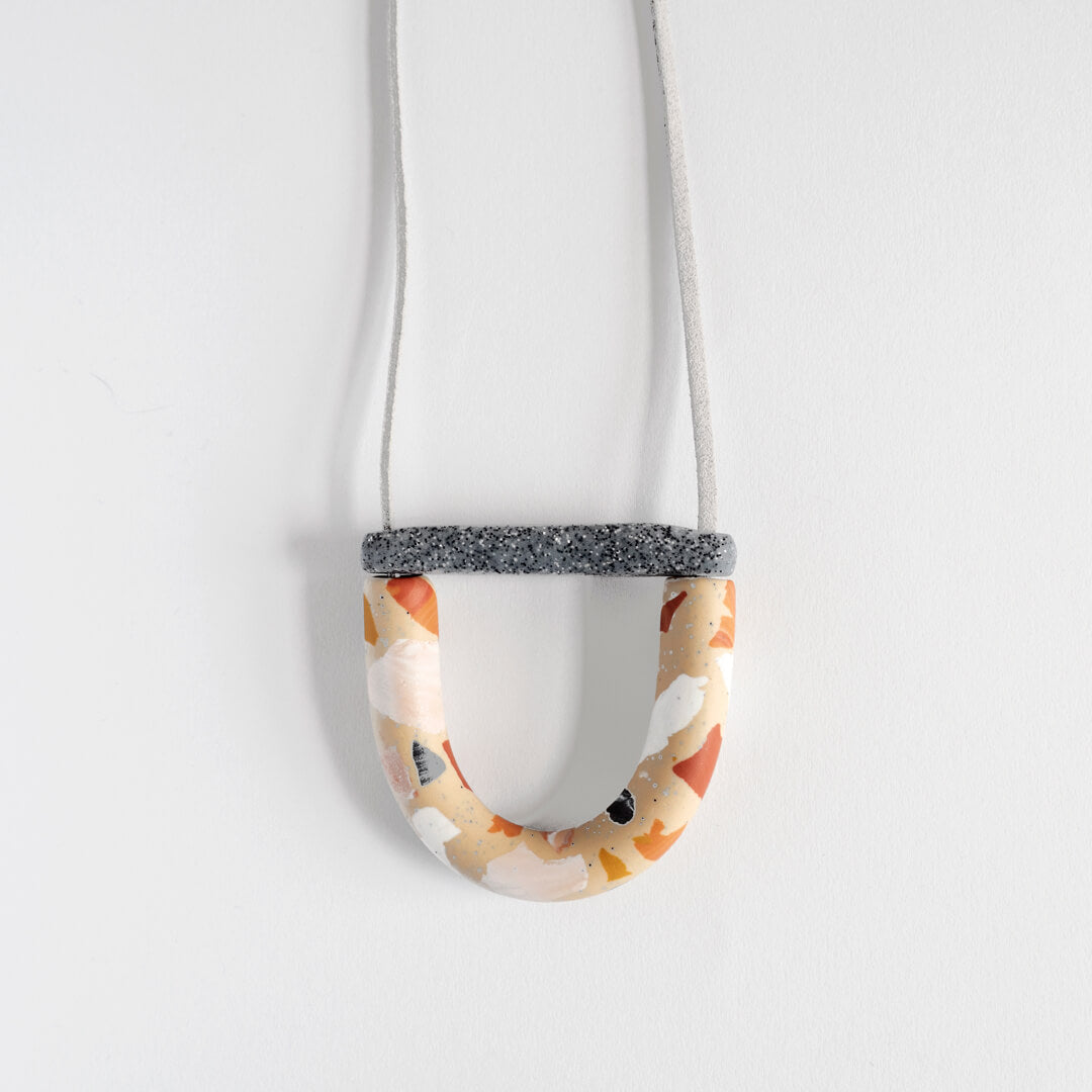 Mini Arc Necklace, Rust Terrazzo