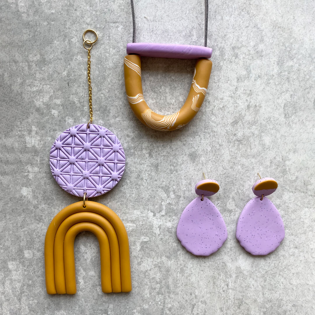 Mini Arc Necklace, Lilac and Mustard