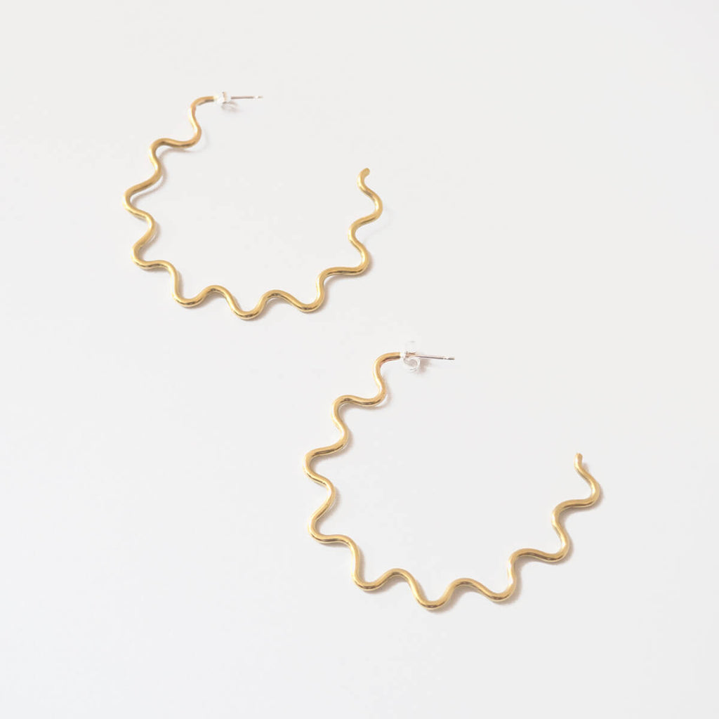 Wavy Hoop Earrings, Brass | Curious Makers