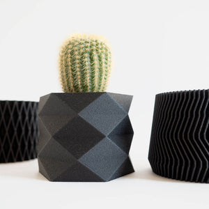 Close up of the set of three mini black diamond planters with a cactus inside.