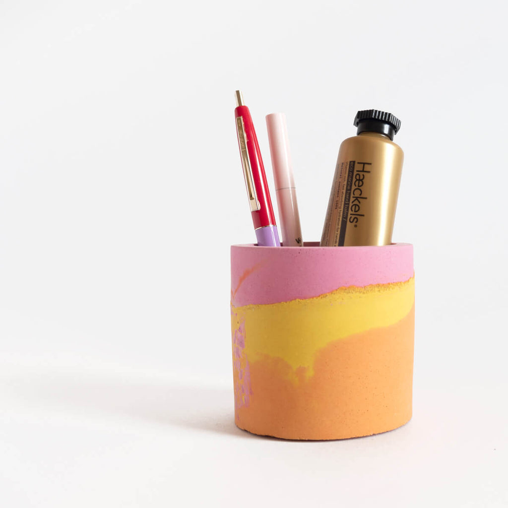 Small Round Concrete Planter, Pink and Orange | Curious Makers