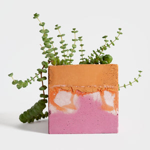 Square Planter, Pink and Orange | Curious Makers